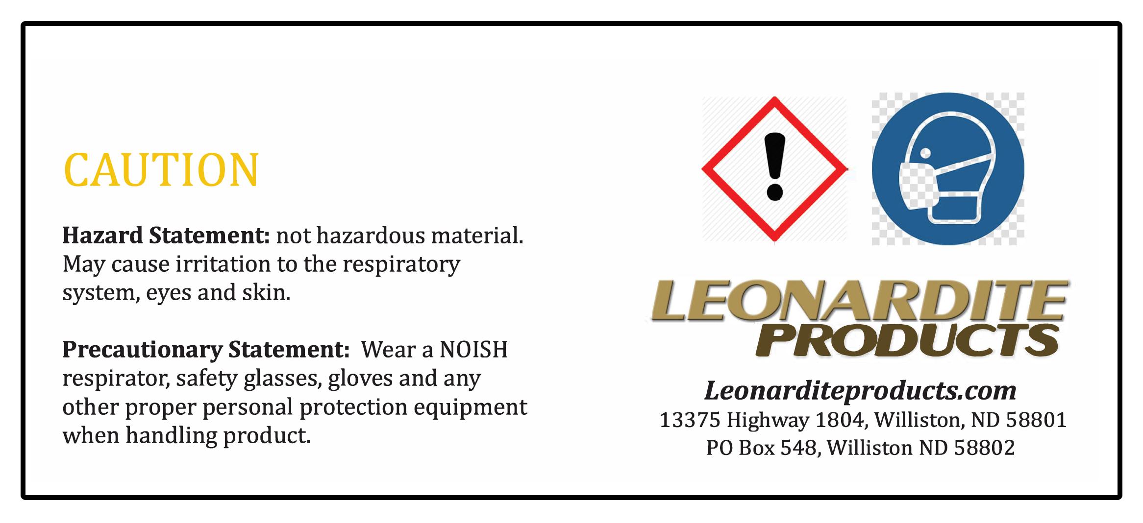 Leonardite Safety Label