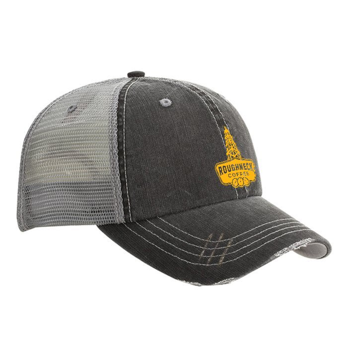 Trucker Hat - Black w/ Gray Mesh, RC Yellow Logo