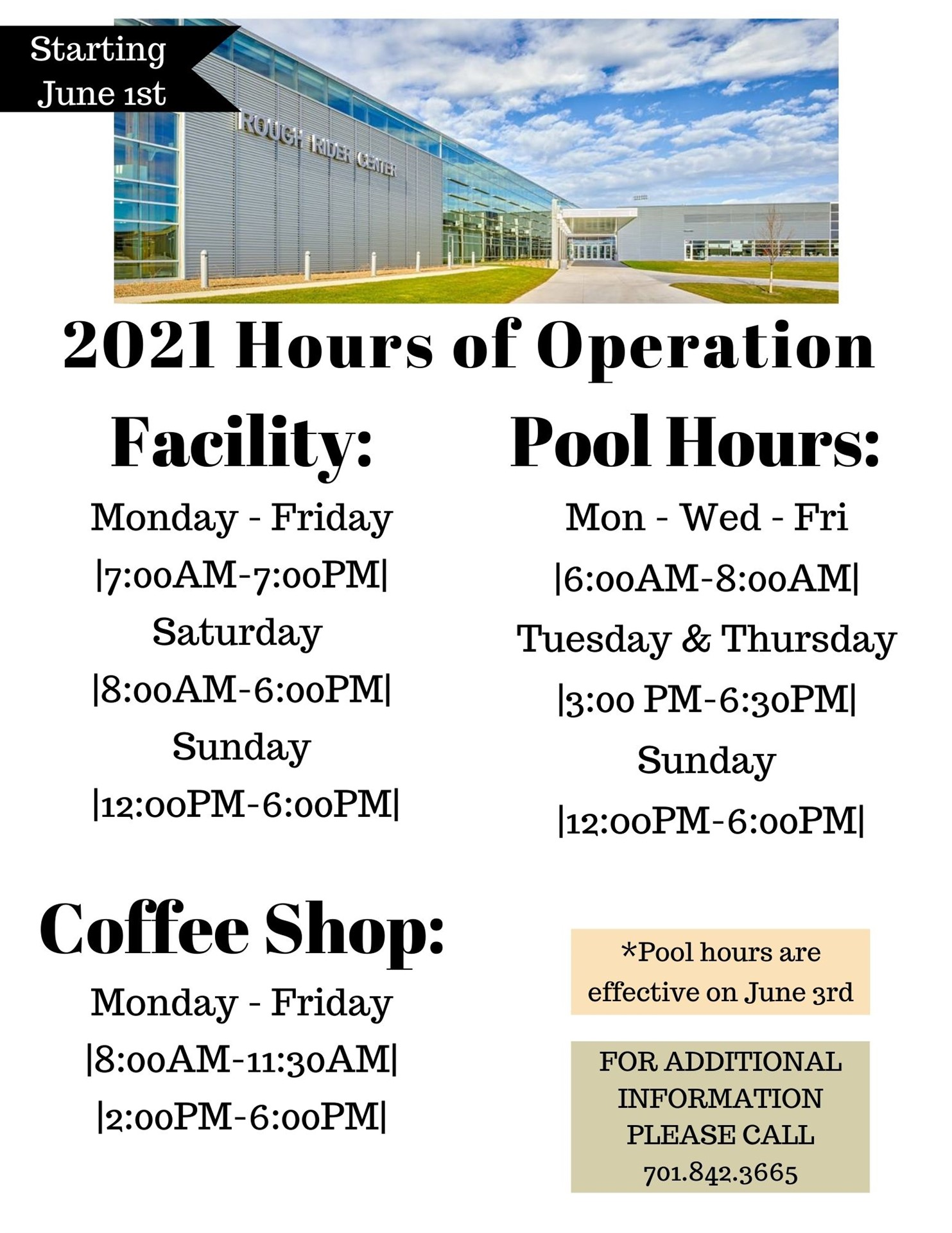 RRC Facility Hours: Starting June 1st