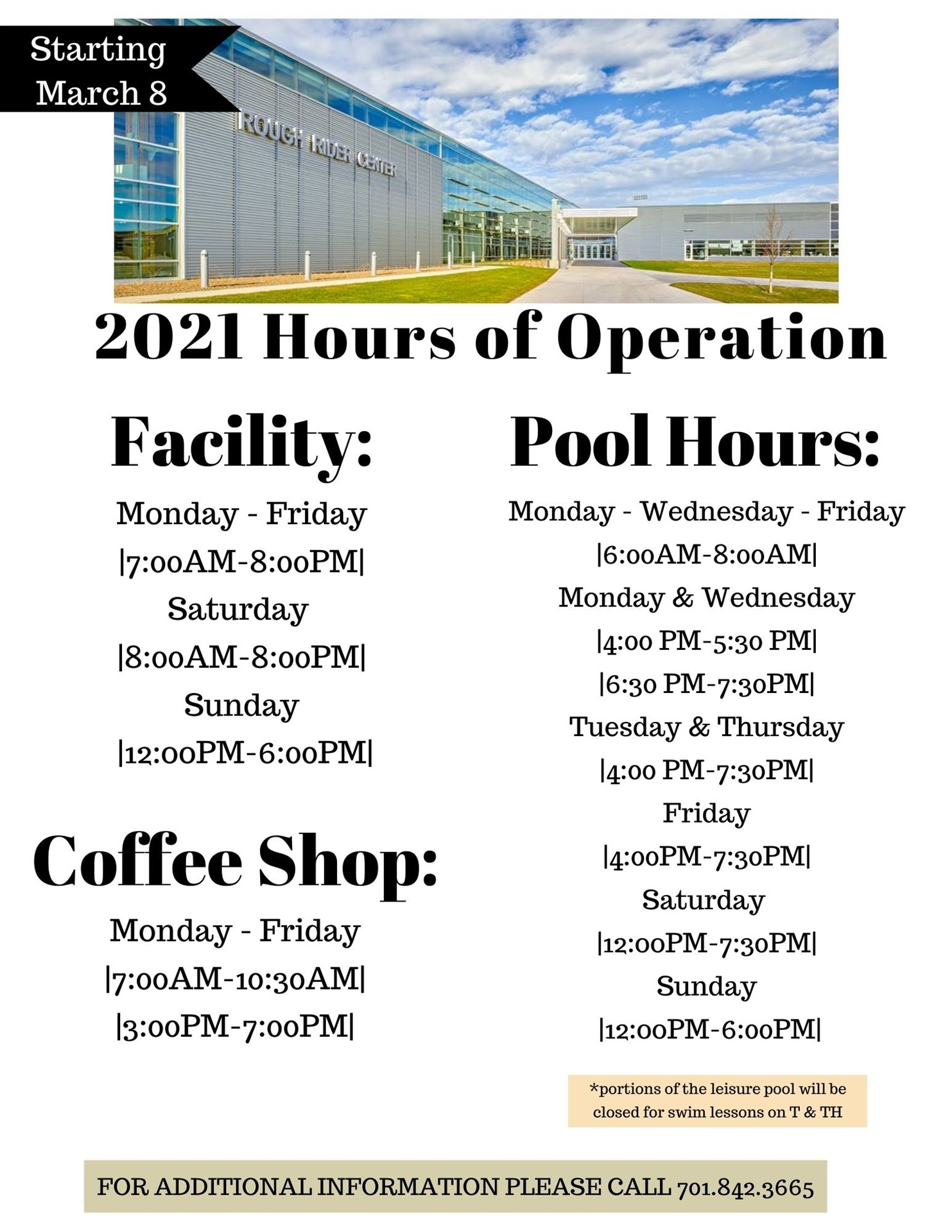 RRC Facility Hours: Starting March 8th