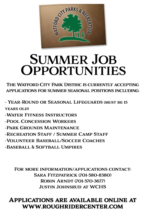 Summer Job Opportunities!!